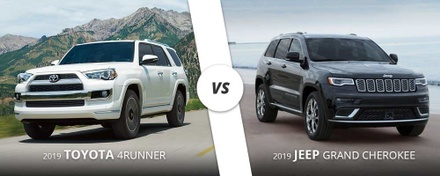 2019 white Toyota 4runner vs 2019 black Jeep Grand Cherokee here in Westbury, NY.