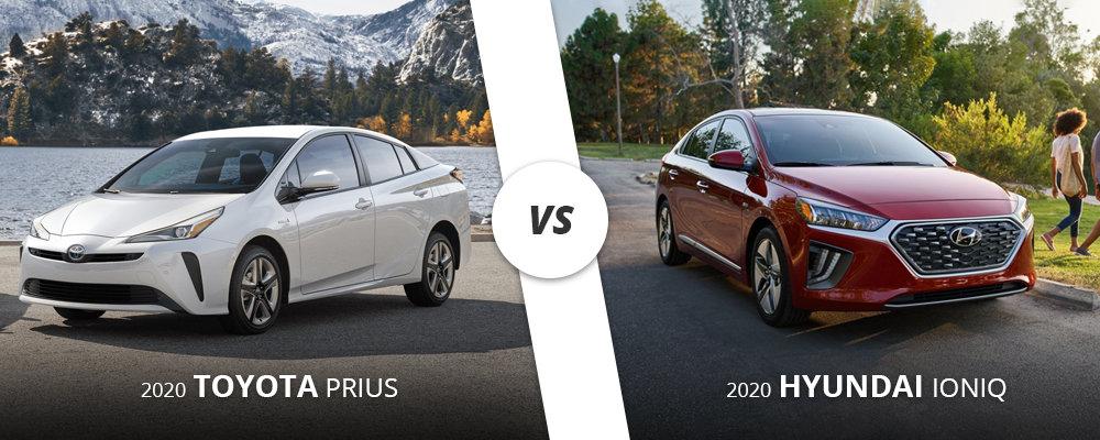 2020 white Toyota Prius vs 2020 red Hyundai Ioniq on Long Island, NY.