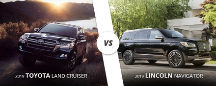Comparing a black 2019 Toyota Land Cruiser to a black 2019 Lincoln Navigator here on Long Island, NY.