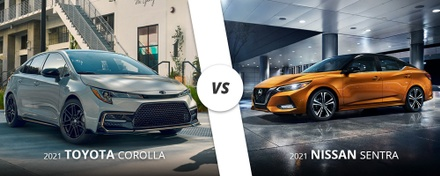 White 2021 Toyota Corolla vs. orange 2021 Nissan Sentra on Long Island.