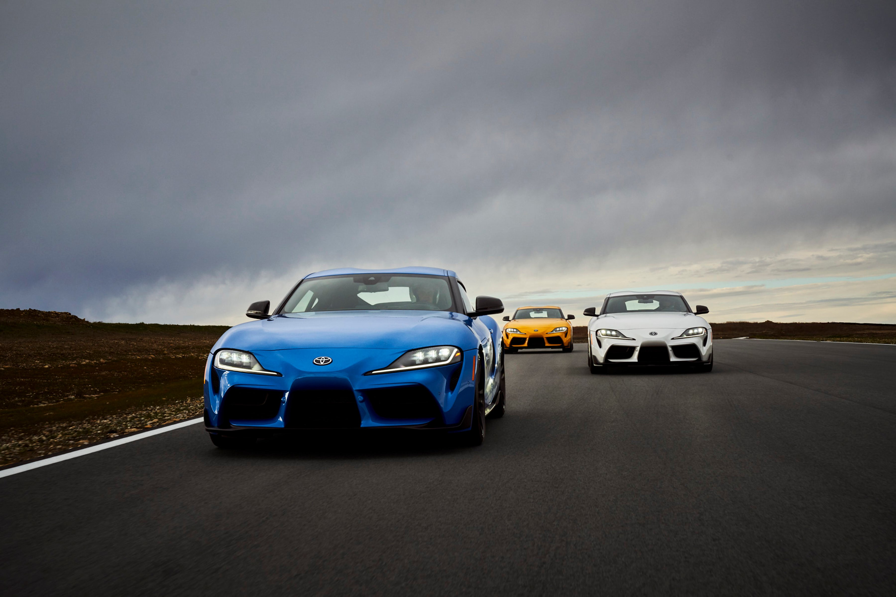 2021 Toyota Supras driving on the roads of Long Island, NY.