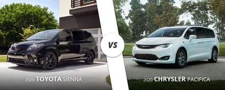 2020 black Toyota Sienna vs. 2020 white Chrysler Pacifica on Long Island, NY.
