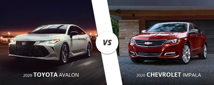 White 2020 Toyota Avalon vs. Red 2020 Chevrolet Impala here on Long Island, NY.