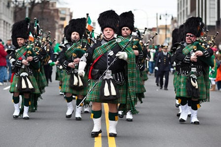 St. Patrick's Day parade marchers on Long Island, NY.
