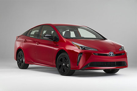 Red 20th Anniversary Edition 2020 Toyota Prius on display at Westbury Toyota on Long Island, NY.