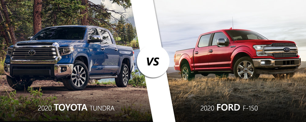 Blue 2020 Toyota Tundra vs. red 2020 Ford F-150 on Long Island, NY.