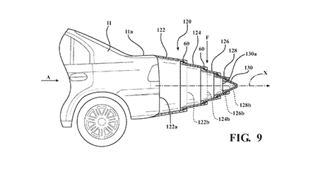 Toyota patent image for telescoping vehicle tail.