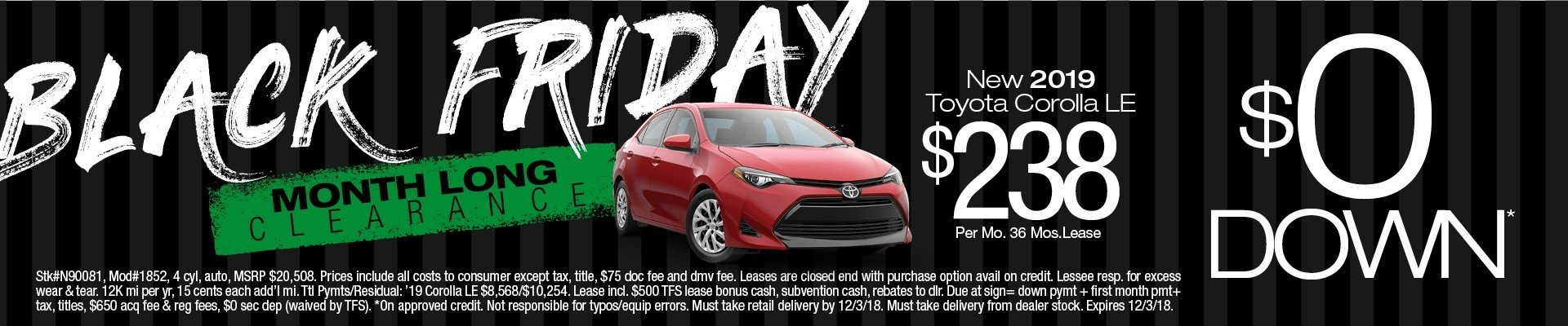 2019 Toyota Corolla Lease $0 Down