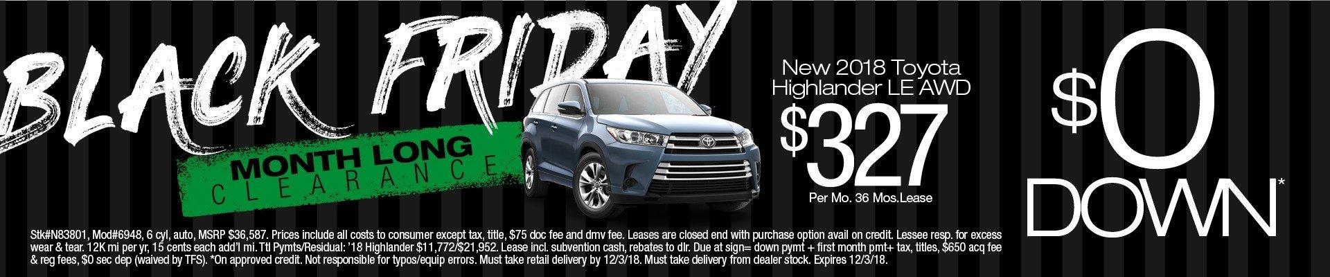 2018 Toyota Highlander Lease $0 Down
