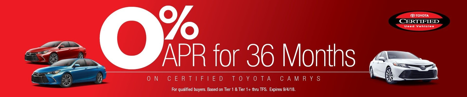 0% for 36 Months on Certified Camry's