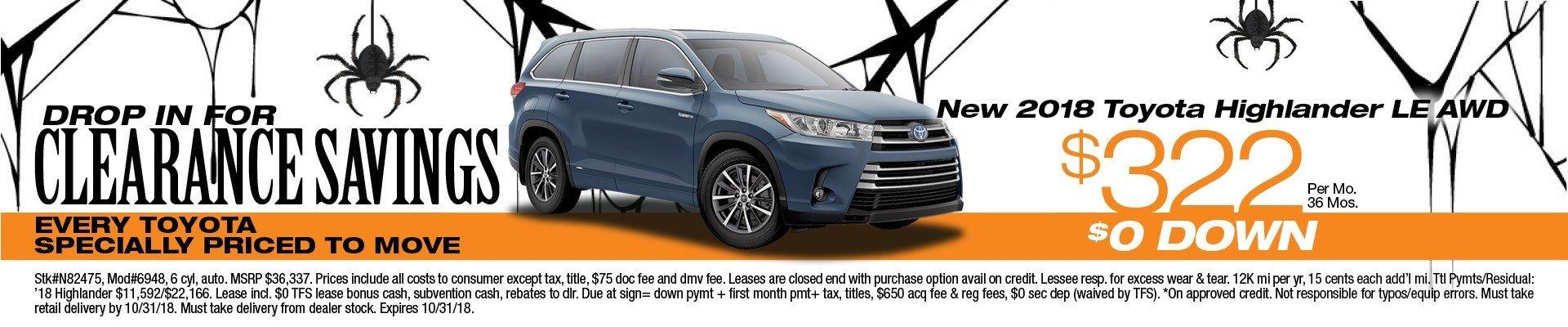 Good ... 2018 Toyota Highlander LE AWD Clearance Savings ...