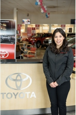 Express Advisor Brenda Garcia in Service at Westbury Toyota