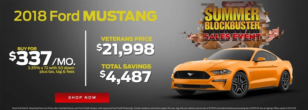 2018 ford mustang monthly specials