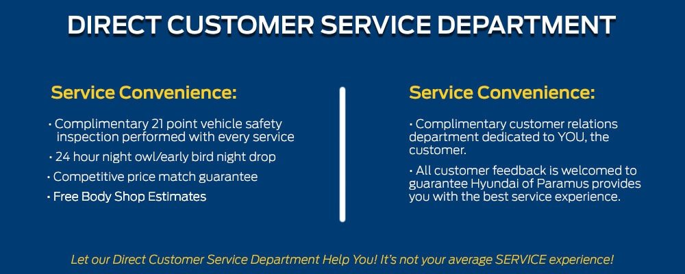 Hyundai Customer Service >> Paramus Hyundai Direct Customer Service Department