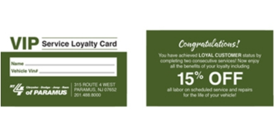 Coupon for VIP Service Discount 15% Off Labor