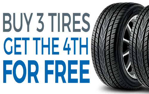 Coupon for Tire Discount Special Buy 3 tires, get the 4th FREE