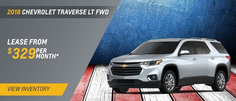 Lease a 2018 Chevrolet Traverse LT FWD from $329 per month at Dimmitt Chevrolet in Clearwater, FL.