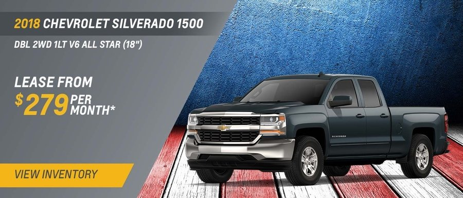 Lease a 2018 Chevrolet Silverado 1500 Dbl 2WD 1LT V6 All-Star from $279 per month at Dimmitt Chevy.