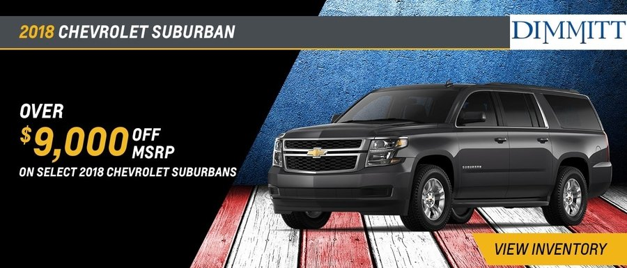Over $9,000 off MSRP on select 2018 Suburbans at Dimmitt Chevrolet in Clearwater, FL.