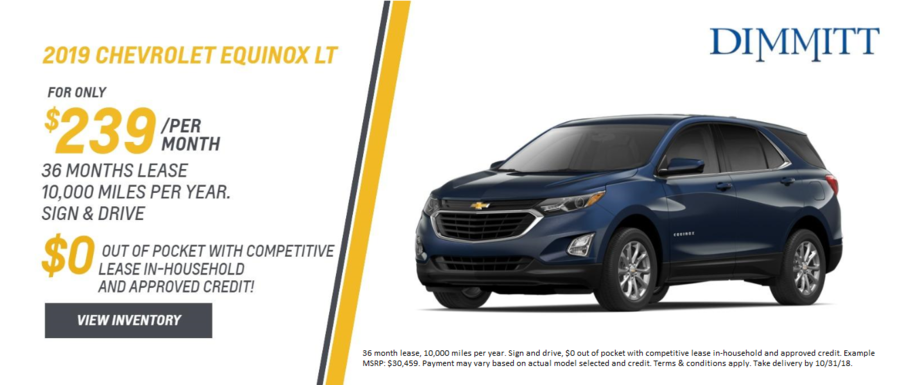 Sign and Drive 2019 Chevrolet Equinox Lease at Dimmitt Chevrolet in Clearwater, FL.