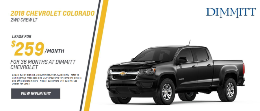 Lease a new Colorado from Dimmitt Chevrolet in Clearwater, FL.