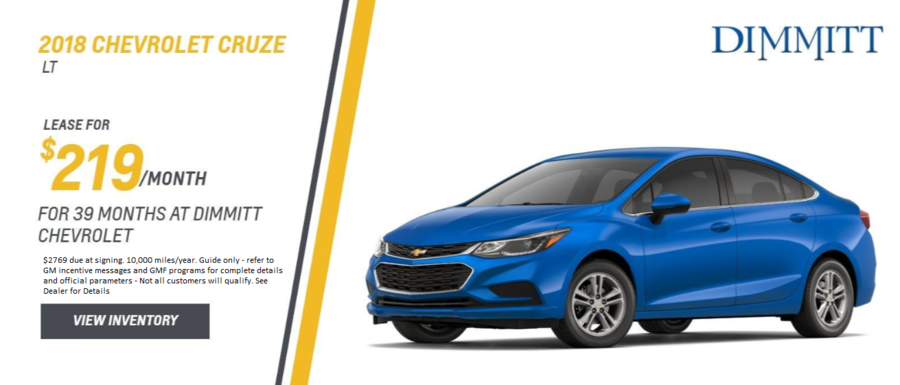 Lease a new Chevrolet Cruze from Dimmitt Chevrolet in Clearwater, FL.