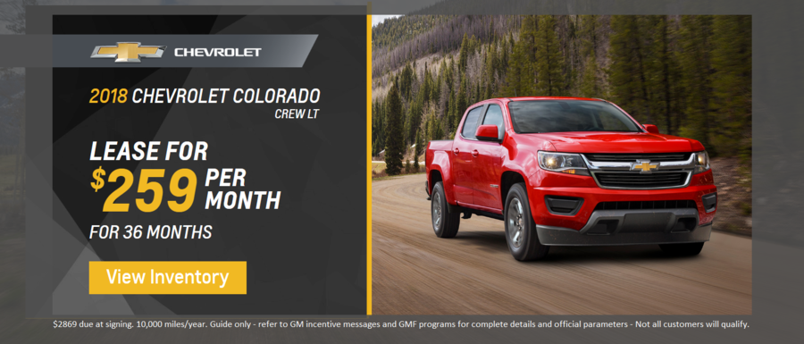 Lease a 2018 Chevrolet Colorado from Dimmitt Chevrolet in Clearwater, FL.