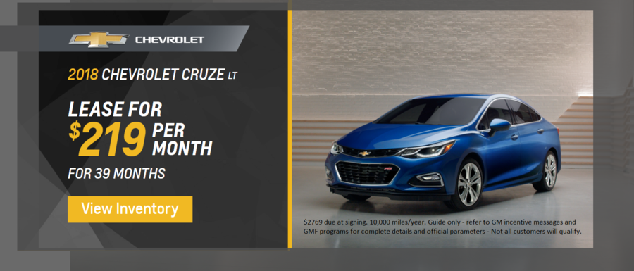 Lease 2018 Chevrolet Cruze LT for $219 per month for 39 months at Dimmitt Chevrolet in Clearwater FL