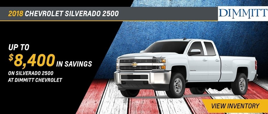 Save up to $8,400 on a new 2018 Silverado 2500 at Dimmitt Chevrolet in Clearwater, FL.