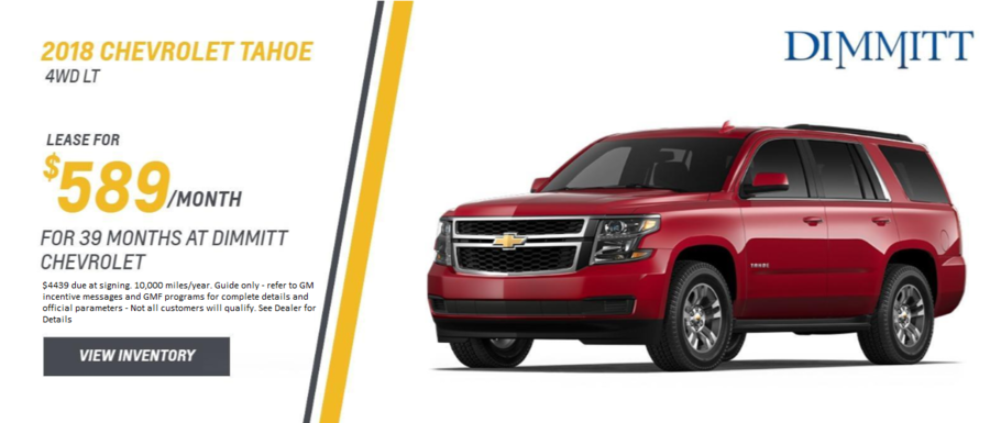 Lease a new Tahoe from Dimmitt Chevrolet in Clearwater, FL.