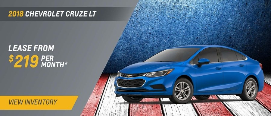 Lease a 2018 Cruze for $219 per month at Dimmitt Chevrolet in Clearwater, FL.