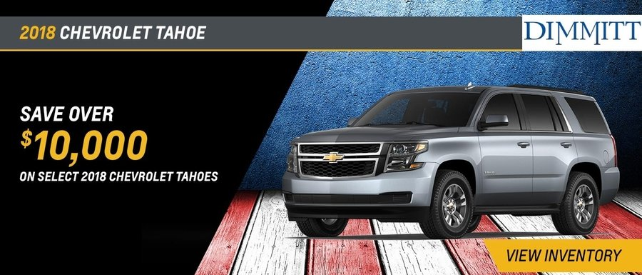 Save over $10,000 on select 2018 Tahoes at Dimmitt Chevrolet in Clearwater, FL.