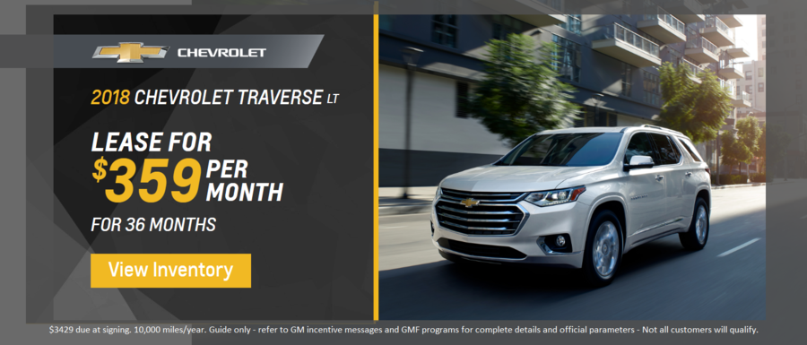 Lease a 2018 Chevrolet Traverse from Dimmitt Chevrolet in Clearwater, FL.