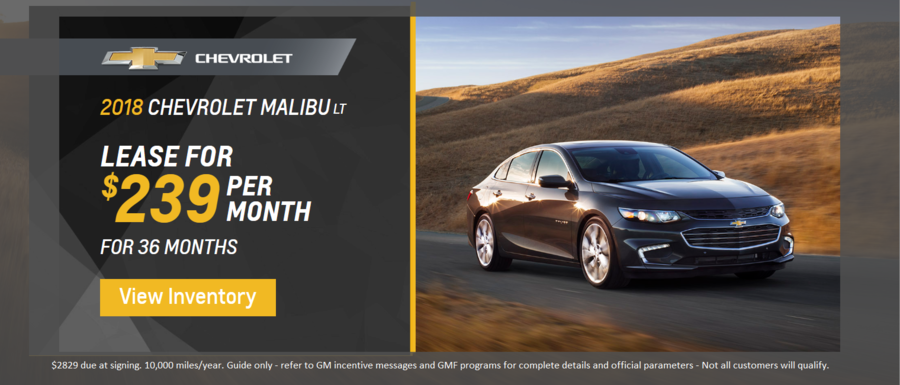 Lease a 2018 Chevrolet Malibu from  Dimmitt Chevrolet in Clearwater, FL.