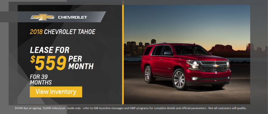Lease a 2018 Chevrolet Tahoe from Dimmitt Chevrolet in Clearwater, FL.