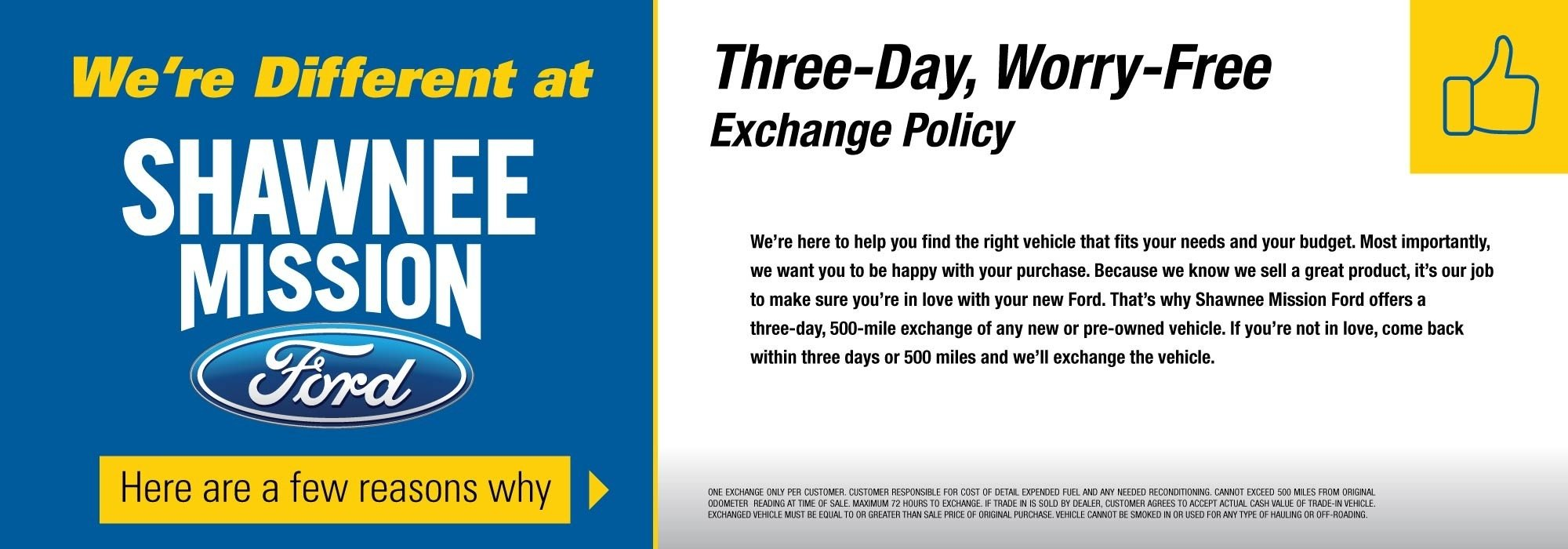 Shawnee Mission Ford Three-Day Exchange Policy
