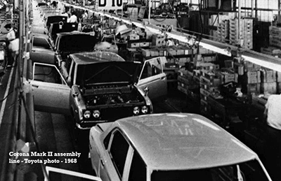 The Toyota automotive assembly plant in 1968
