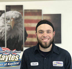 Service Technician Dave Higgins in Service at Leo Kaytes Ford