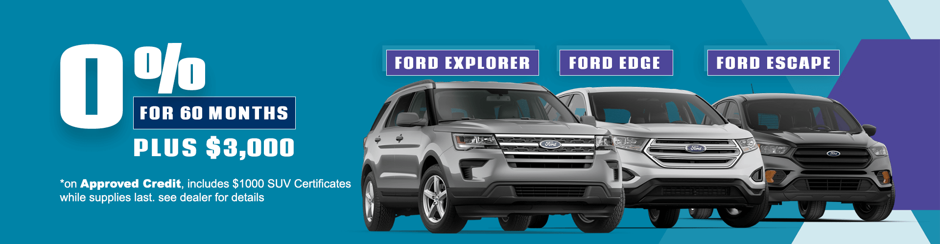 0% for 60 Months on Ford Explorer, Ford Edge and Ford Escape