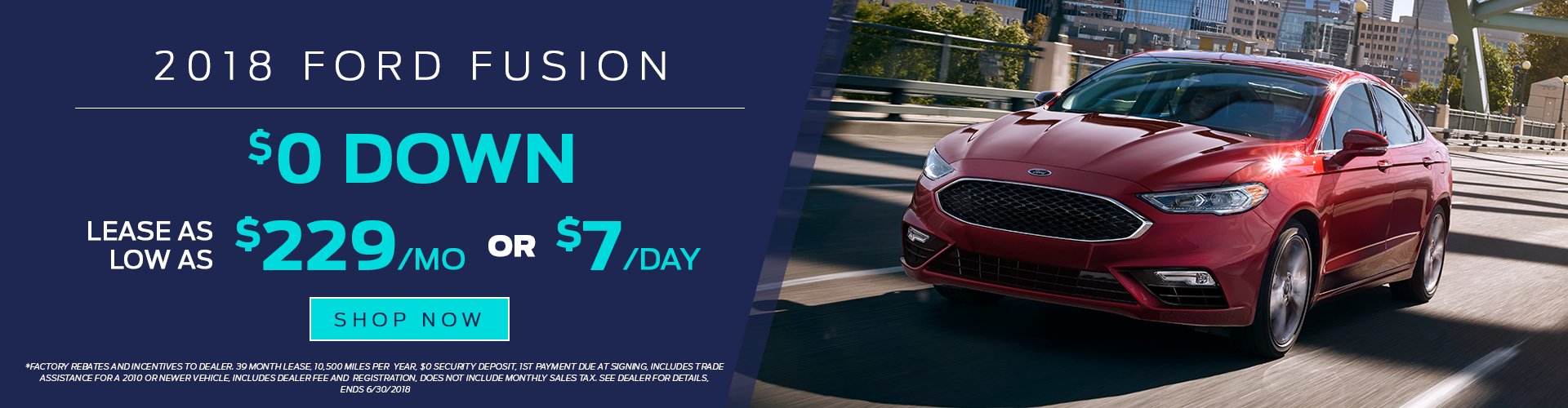 2018 Ford Fusion for Lease