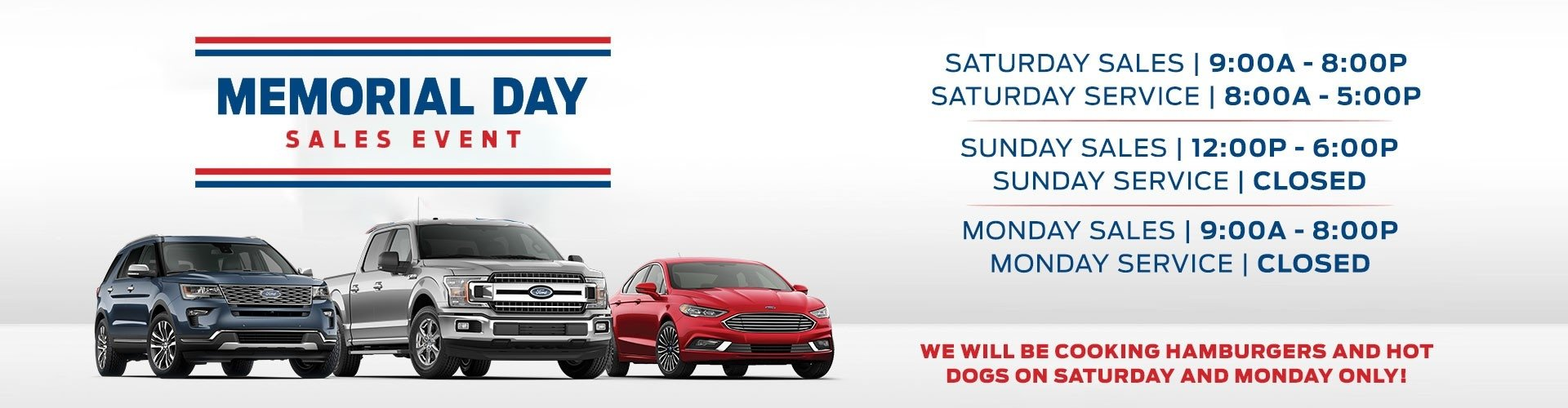 memorial day sales event with weekend business hours