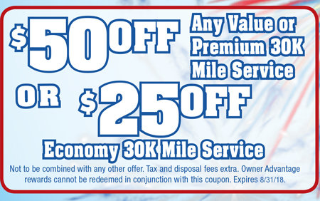 Coupon for $50 Off Any Value or Premium 30K Mile Service or $25 Off Economy 30K Mile Service