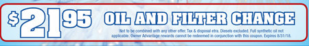 Coupon for $21.95 Oil and Filter Change