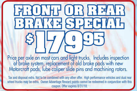 Coupon for Front or Rear Brake Special - $179.95