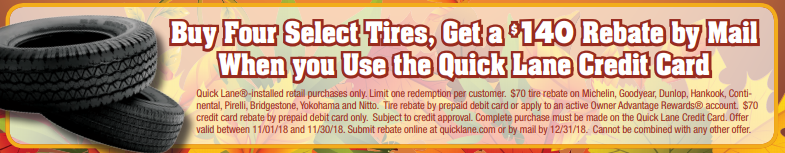 Coupon for Tire Special Buy 4 select tires, get $140 rebate!