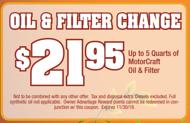 Coupon for Oil and Filter Change