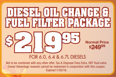 Coupon for Diesel Oil Change & Fuel Filter Package Original Price: $249.95