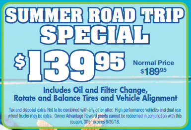 Coupon for Summer Road Trip Special $139.95 (normal price $189.95)