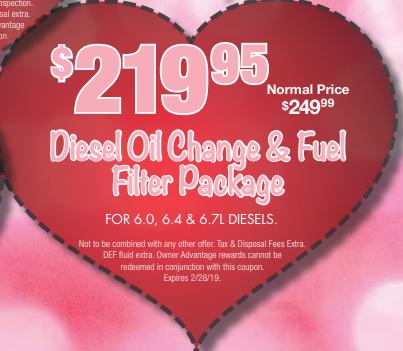 Coupon for Diesel Oil Change & Fuel Filter Package For 6.0, 6.4, &6.7L Diesels