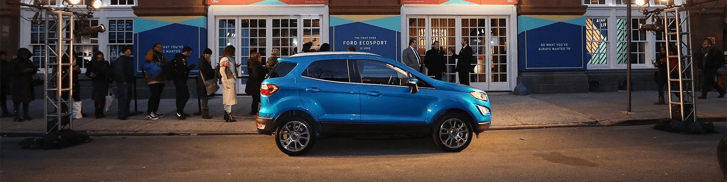2018 blue ford ecosport parked out front of Huntersville Ford